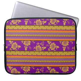 Boho Chic Violet Mustard Yellow Floral Pattern Laptop Sleeve