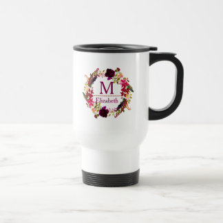 Boho Chic Watercolor Floral Wreath Monogram Travel Mug