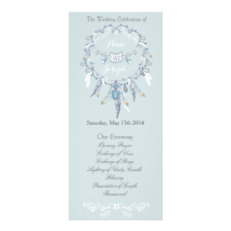 Boho chic wedding program rack card