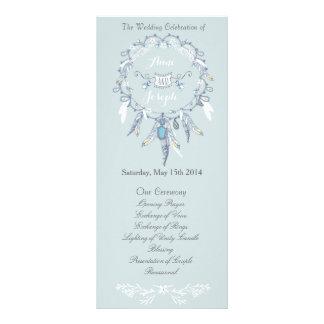 Boho chic wedding program rack card design