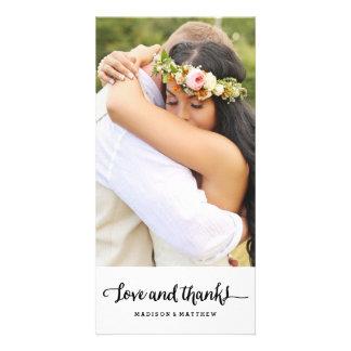 Boho Chic   Wedding Thank You Photo Card