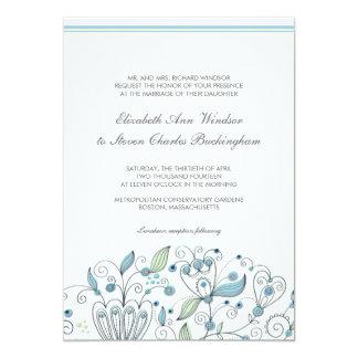 BOHO Chic Whimsical Garden Wedding Blue 13 Cm X 18 Cm Invitation Card
