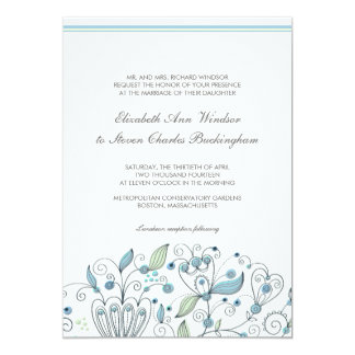 BOHO Chic Whimsical Garden Wedding Blue Card