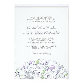 BOHO Chic Whimsical Garden Wedding Purple 5x7 Paper Invitation Card