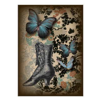boho chicfloral butterfly vintage Victorian Shoe Poster