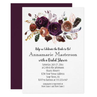 Boho Dark Purple Rust Floral Bridal Shower Card
