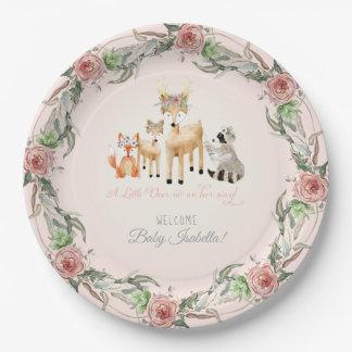 BOHO Deer Antler Woodland Animals Baby Girl Paper Plate