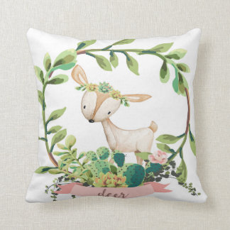 Boho Deer Cactus Succulent Baby Nursery Pillow