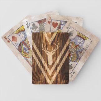 Boho deer on rustic wood bicycle playing cards