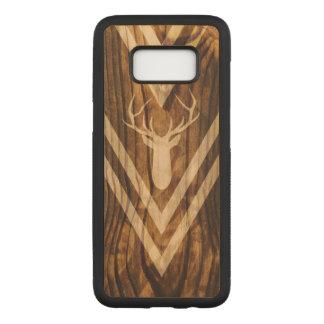 Boho deer on rustic wood carved samsung galaxy s8 case