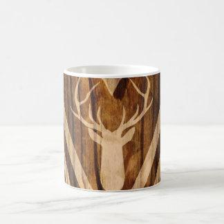 Boho deer on rustic wood coffee mug