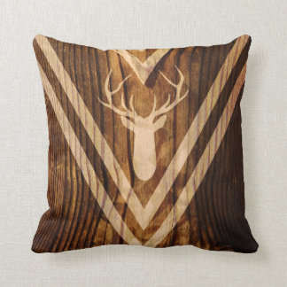 Boho deer on rustic wood cushion