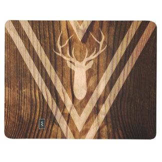 Boho deer on rustic wood journal