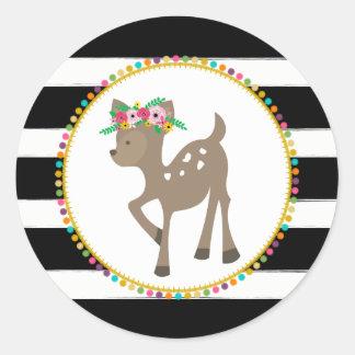 Boho Deer Striped Pompom Inspired Baby Shower Round Sticker