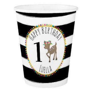Boho Deer Stripes Pompom Birthday Paper Cup