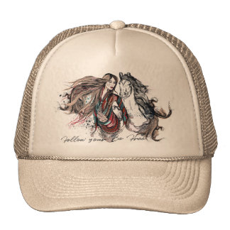 Boho design with girl and horse cap