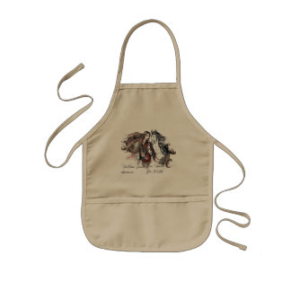 Boho design with girl and horse kids apron