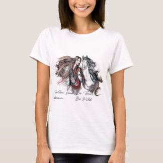 Boho design with girl and horse Tribal hand drawn T-Shirt