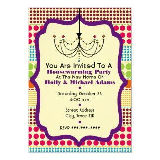 Boho Dots Funky Chandelier Housewarming Party Card