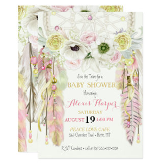 Boho Dream Catcher Feathers Crystals Pink Yellow 13 Cm X 18 Cm Invitation Card