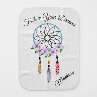 Boho Dream Catcher Floral Flower Feathers Tribal Burp Cloth