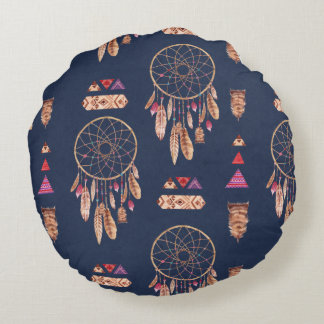 Boho Dream Catcher Pattern Round Cushion