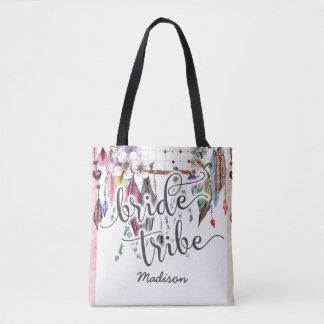 Boho Dreamcatcher & Feathers Bride Tribe Monogram Tote Bag