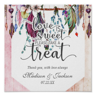 Boho Dreamcatcher & Feathers Love is Sweet Treat Poster
