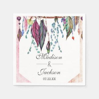 Boho Dreamcatcher & Feathers Pink Monogram Wedding Disposable Serviettes