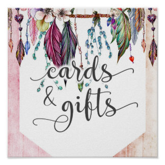 Boho Dreamcatcher & Feathers Wedding Cards & Gifts Poster