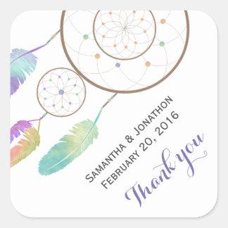 Boho Dreamcatcher Wedding Thank You Square Sticker