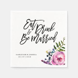 Boho Eat Drink Be Married Flower Wedding Napkin Paper Serviettes