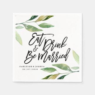 Boho Eat Drink Be Married Wedding Napkin Disposable Serviette