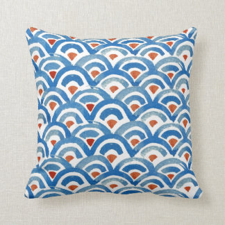 Boho Eclectic Blue and Orange Pillow