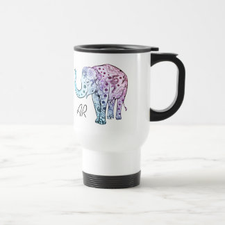 Boho elephant pastel floral custom name initials travel mug