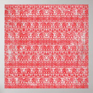 Boho ethnic elephant pattern poster