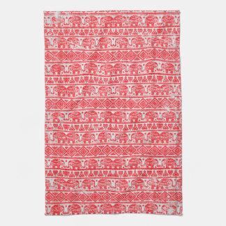Boho ethnic elephant pattern tea towel