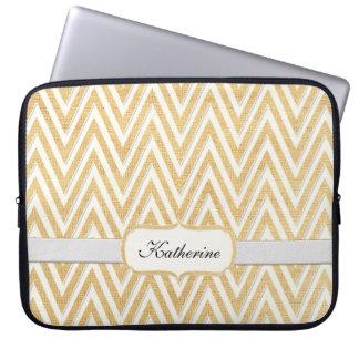 BOHO Faux Burlap n Lace Chevron modern mod style Laptop Sleeve