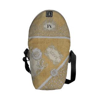 BOHO Faux Burlap n Lace gypsy Modern Style Mod Courier Bag