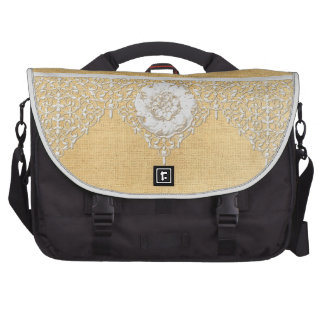 BOHO Faux Burlap n Lace gypsy Modern Style Mod Bag For Laptop
