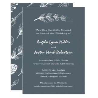 Boho Feather and Arrows Wedding Card
