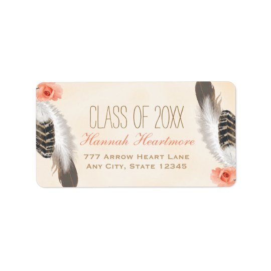 BOHO FEATHER AND FLORAL GRADUATION LABEL