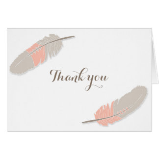 Boho Feather Baby Shower Thank You Pink & Grey Card