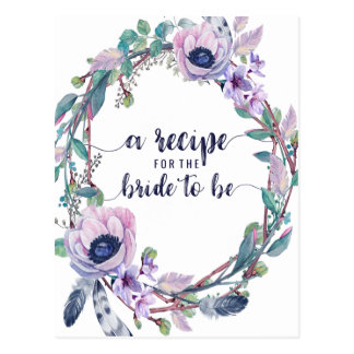 Boho Feather & Floral Bridal Shower Recipe Card