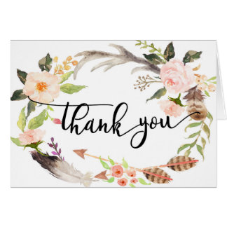 boho feather Floral thank you card