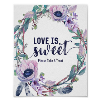 Boho Feather & Floral Wreath Wedding Love is Sweet Poster