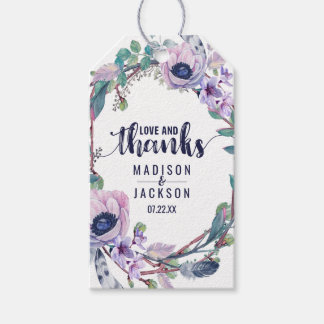 Boho Feather & Floral Wreath Wedding Love & Thanks Gift Tags