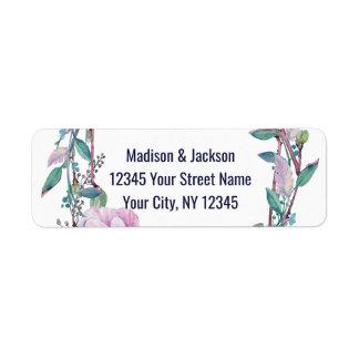 Boho Feather Floral Wreath Wedding Return Address Return Address Label