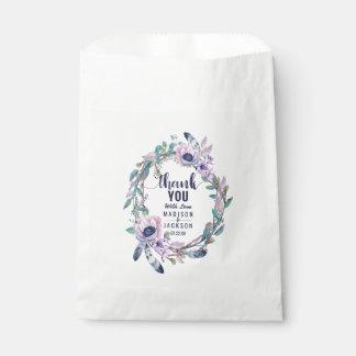 Boho Feather & Floral Wreath Wedding Thank You Favour Bag