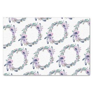 Boho Feather & Floral Wreath Wedding Tissue Paper
